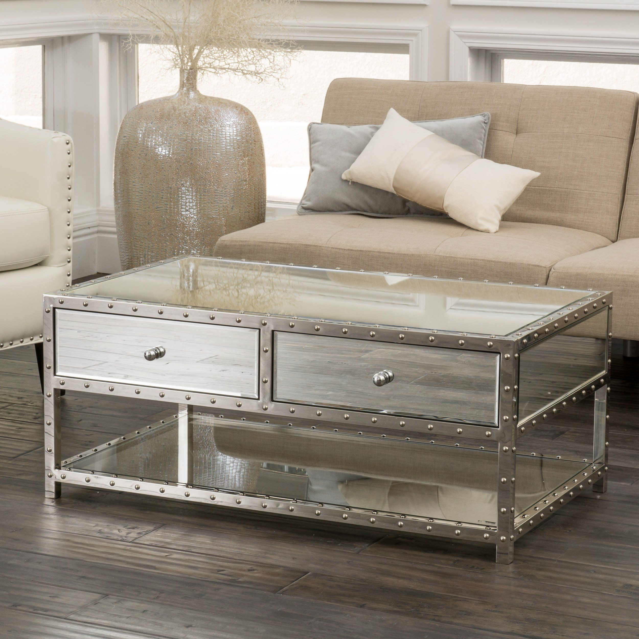 Ryanne Studded Mirrored 2 Drawer Coffee Table Mirrored Coffee