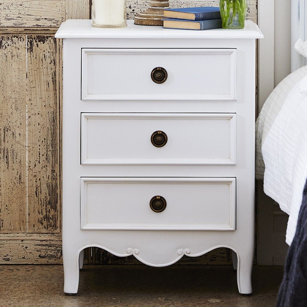 Loire french provincial 3 drawer bed side table white home decor loire french provincial black or white painted bedside bedroom lamp table aloadofball Image collections