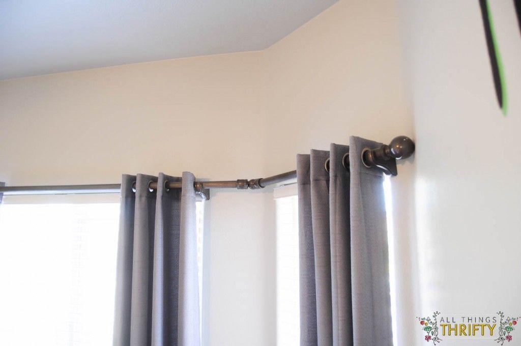 The Secret to DIY Bay Window Curtain Rods from | Diy bay window ...