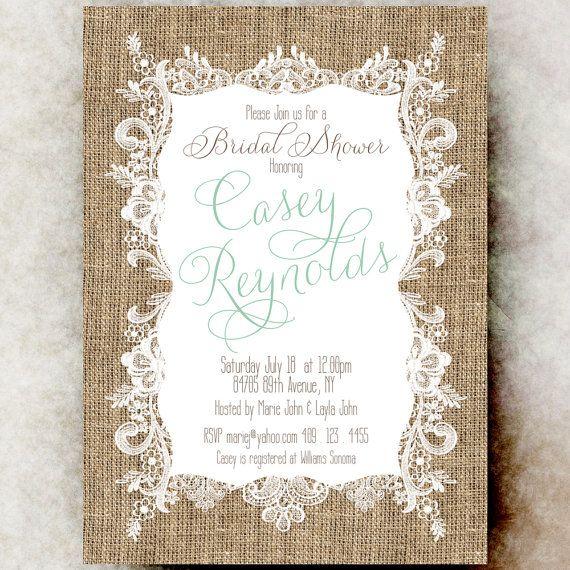 Burlap lace bridal shower invitation printable rustic bridal burlap lace bridal shower invitation rustic bridal showerm cottage chic bridal shower mint green filmwisefo Choice Image