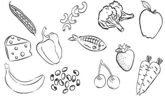Printable Type Healthy Food Coloring For Kids Healthy Food Pictures Food Coloring Pages Free Coloring Pages
