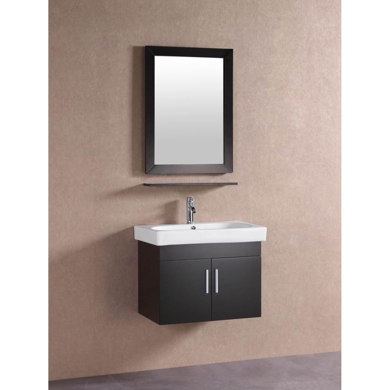 Belvedere modern espresso brown 28 inch floating Floating bathroom vanity