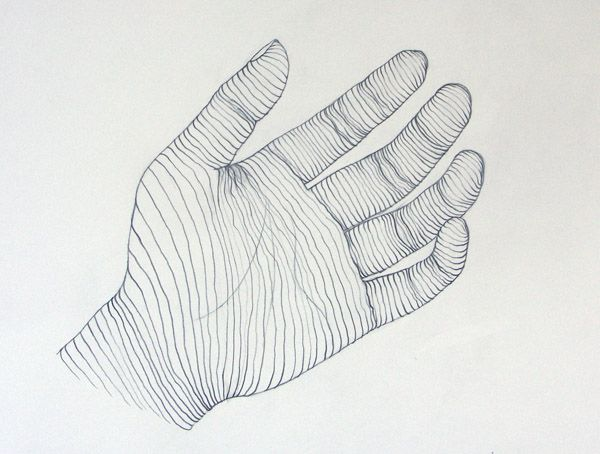 Line Art Hand : Drawing examples for classroom art contour line of hand