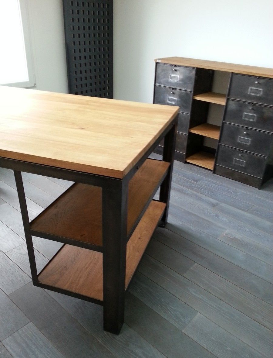 bureau bois et acier 2 meuble industriel pinterest bureau industriel acier et sur mesure. Black Bedroom Furniture Sets. Home Design Ideas