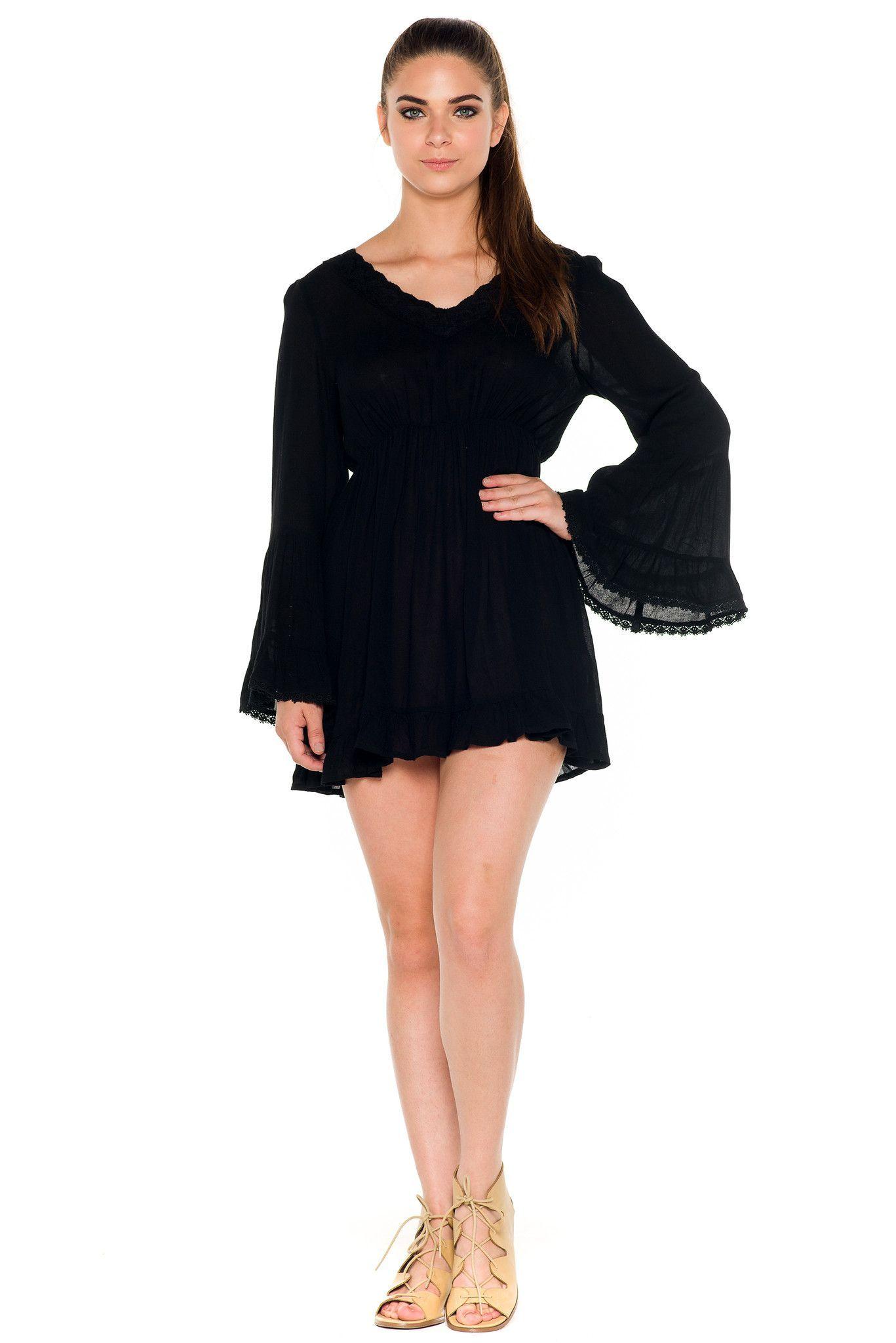 Ala bell sleeves flare short dress black products pinterest