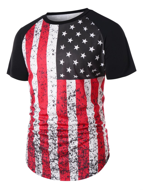 4806d967e5103 Curved Hem Stars and Stripes Print T-shirt - BLACK L
