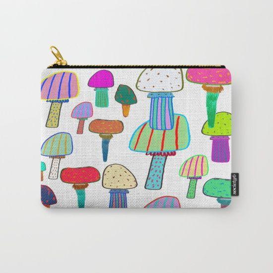 Mushrooms, mushroom print, mushroom art, illustration, design, pattern, Carry-All Pouch