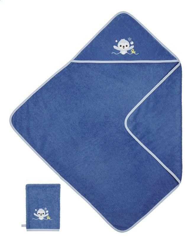 e619b0b0af5 Lou maakt badtijd nog zoveel leuker dankzij deze donkerblauwe Lila & Lou-badcape  met washandje