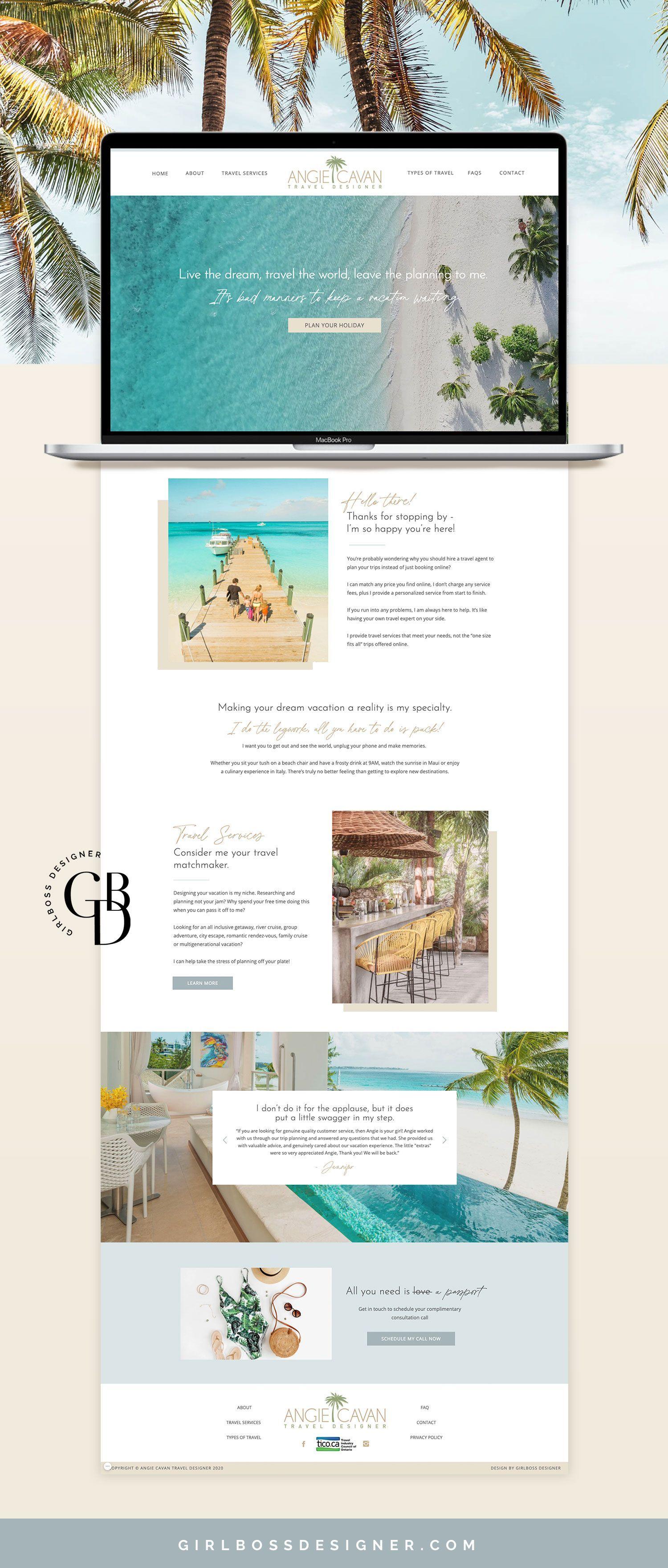 Light And Beachy Neutral Toned Website Design For Travel Designer Girlboss Designer In 2021 Travel Website Design Blog Website Design Branding Website Design