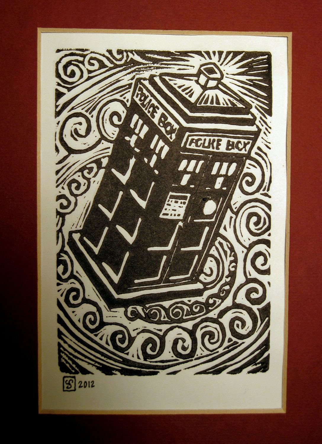 f20ddb2b3fbbf Doctor Who TARDIS block print, black and white, hand pulled. $8.00 ...