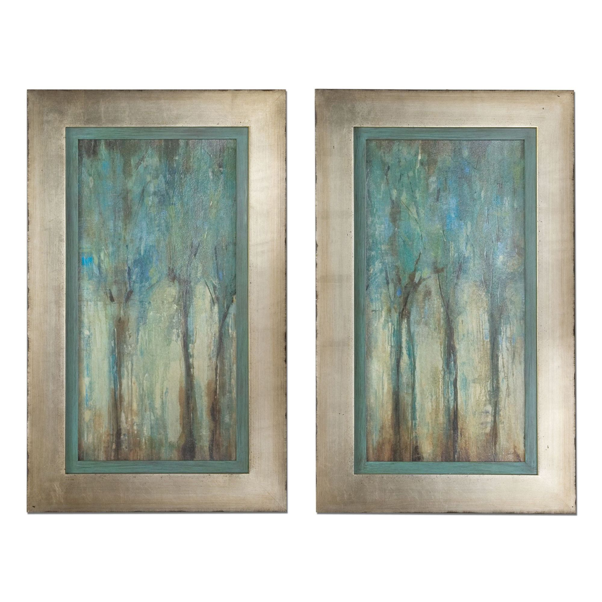 Add eyecatching elegance with this framed wall art set featuring