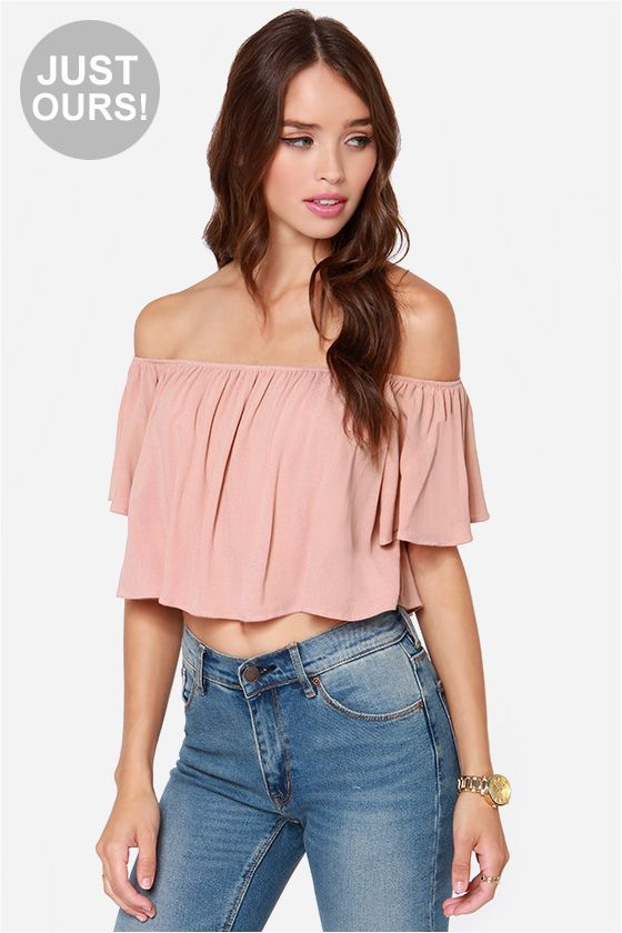 b0ef4b9766c5c4 ... Short Sleeve Crop Top, Fashion Style Blouses & Shirts. LULUS Exclusive  Good Time Blush Off-the-Shoulder Top at LuLus.com!