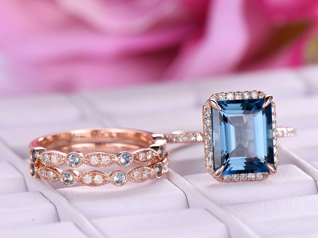 Emerald Cut London Blue Topaz Engagement Ring Trio Sets Pave Diamond ...