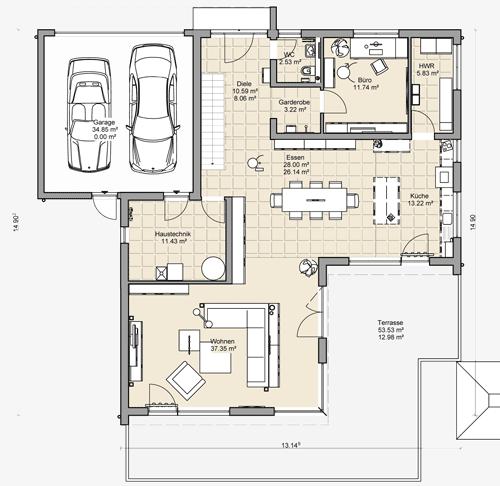 Massivhaus mit Flachdach: Beipielplanung 3 - jetzthaus ...