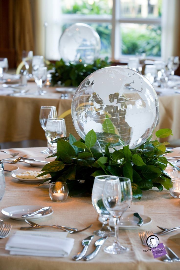Clear globe centerpiece available for rental on event for Contemporary table centerpieces
