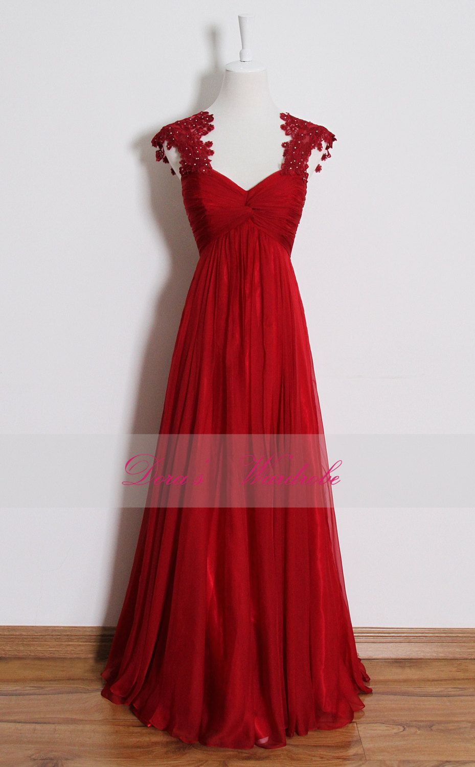 Red+lace+prom+dresslong+empire+waist+bridesmaid+by+DorasWardrobe
