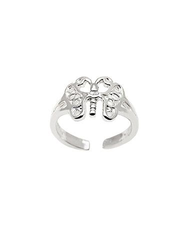 This Sterling Silver Butterfly Adjustable Ring is perfect! #zulilyfinds
