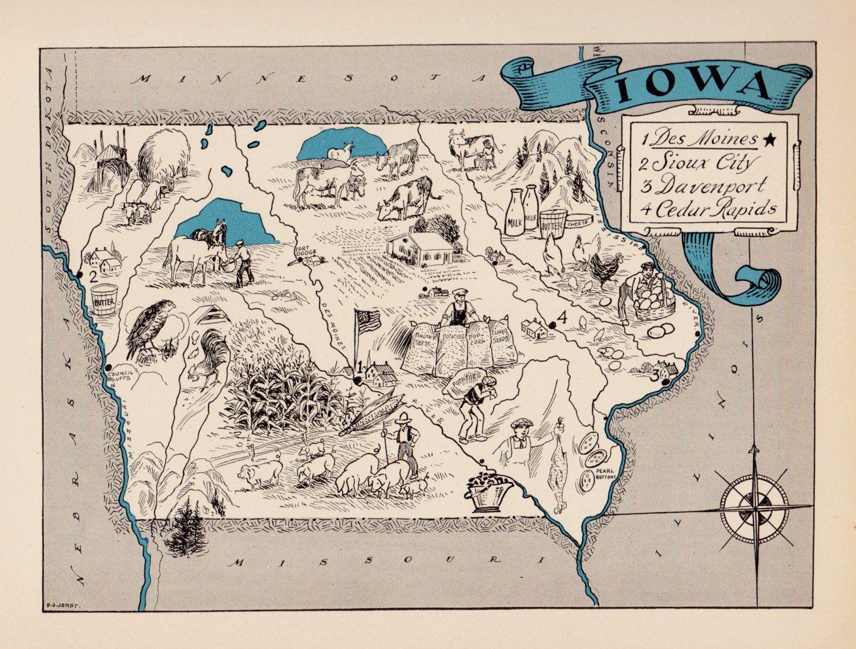 30 S Vintage Iowa State Map Iowa Cartoon Map Print Gallery Wall