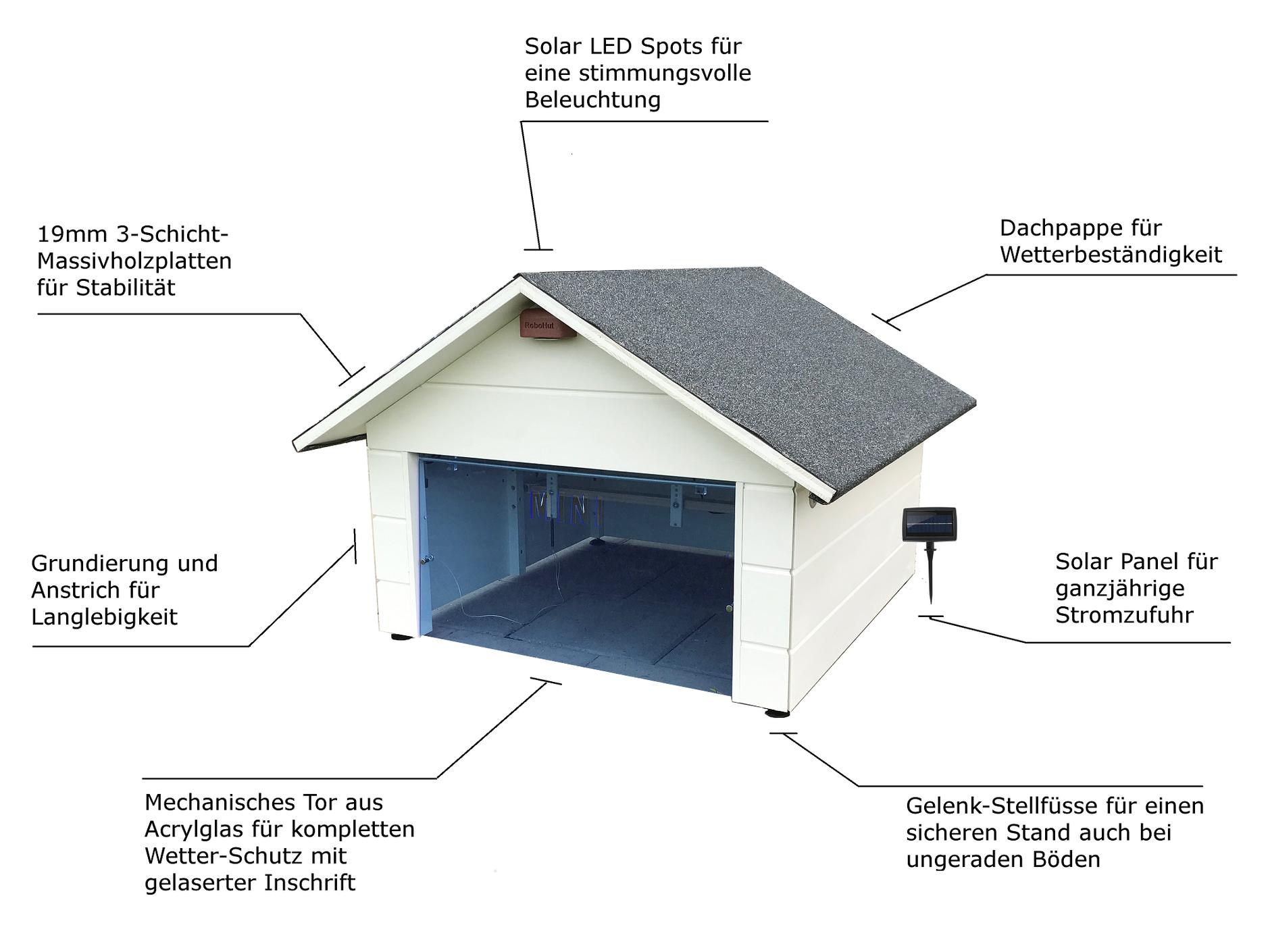 m hroboter garage robohut mit tor und solar led f r. Black Bedroom Furniture Sets. Home Design Ideas