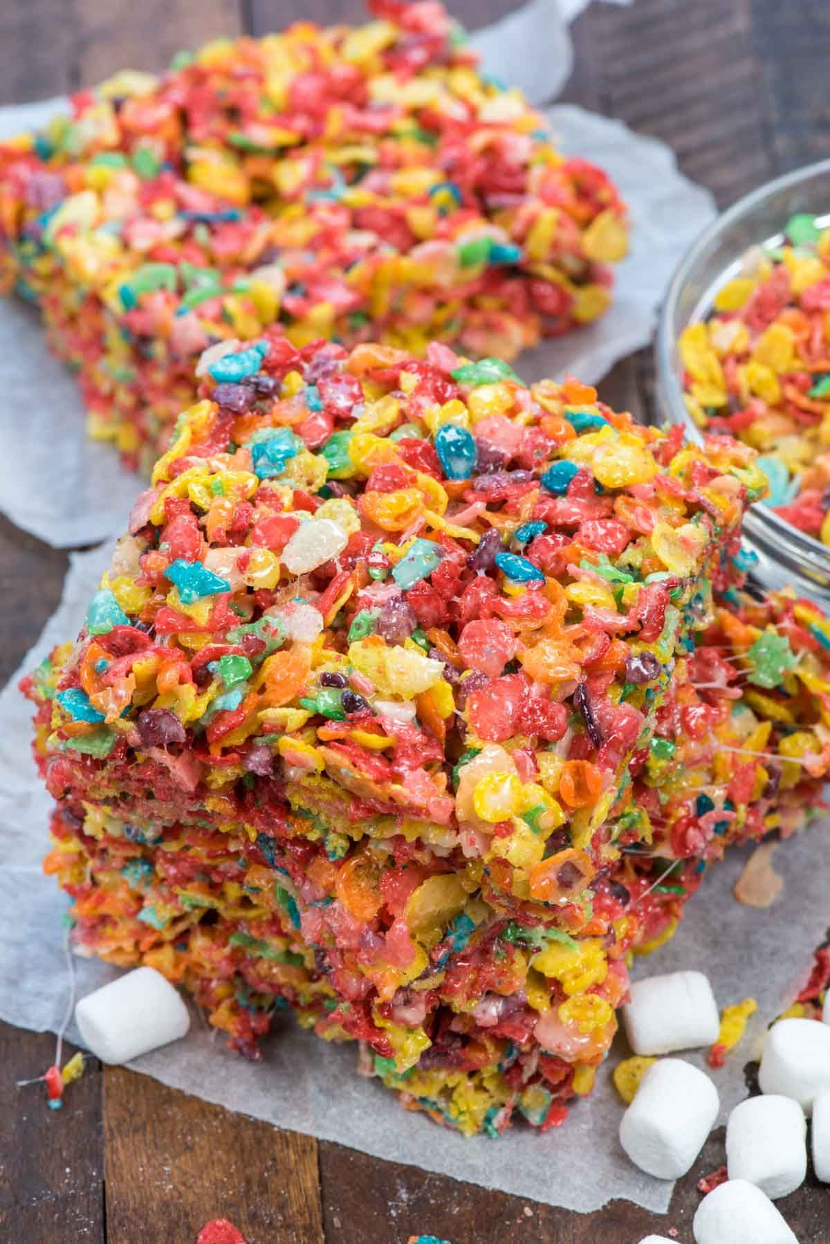The Perfect Fruity Pebble Krispie Treat Recipe Is The Best Rainbow Marshmallow Cereal Treat Fruity Pebbles Treats Cereal Treats Krispie Treats Recipe