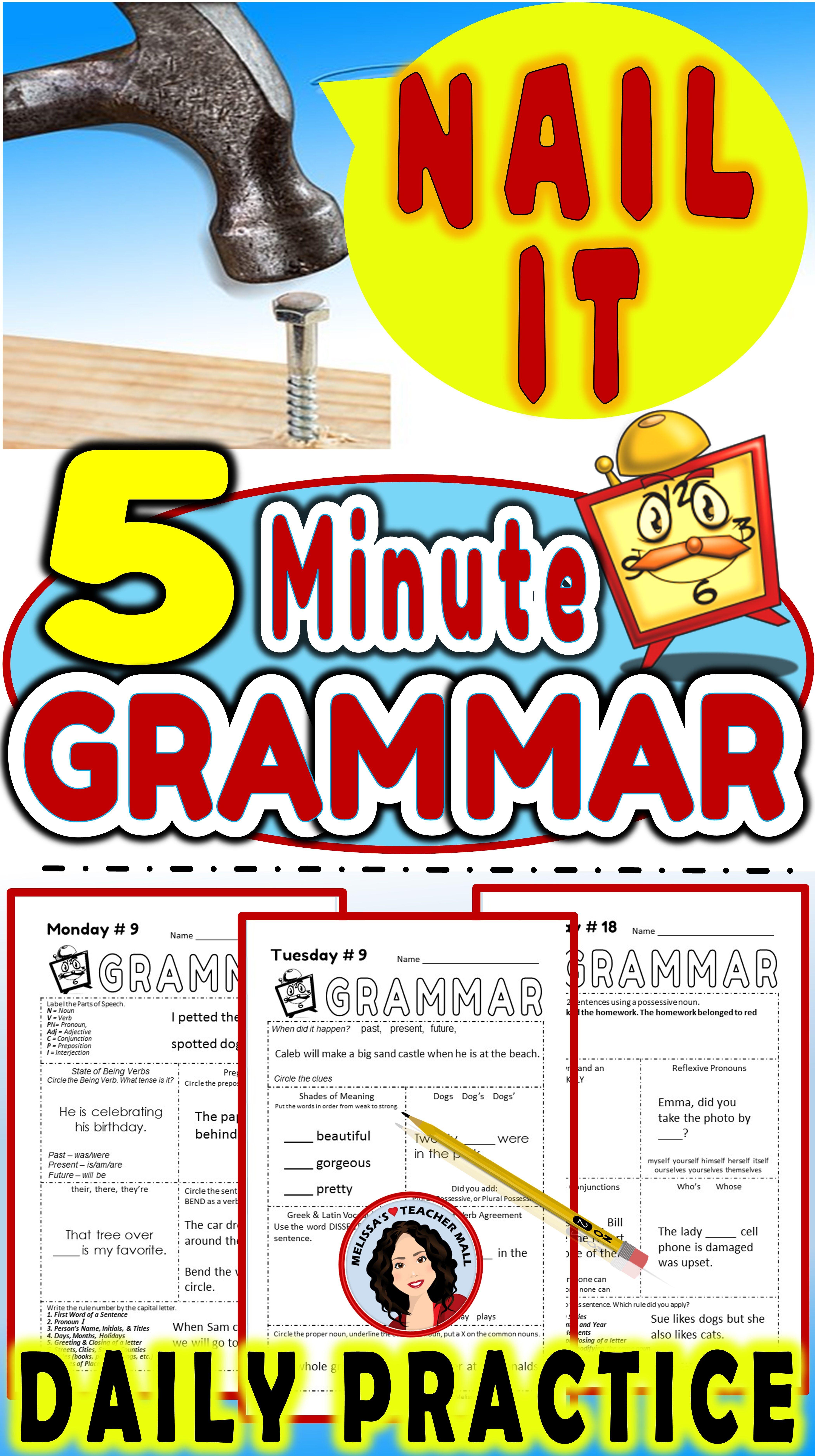 Grammar 5 Minute Daily Grammar Worksheets Spiral Review