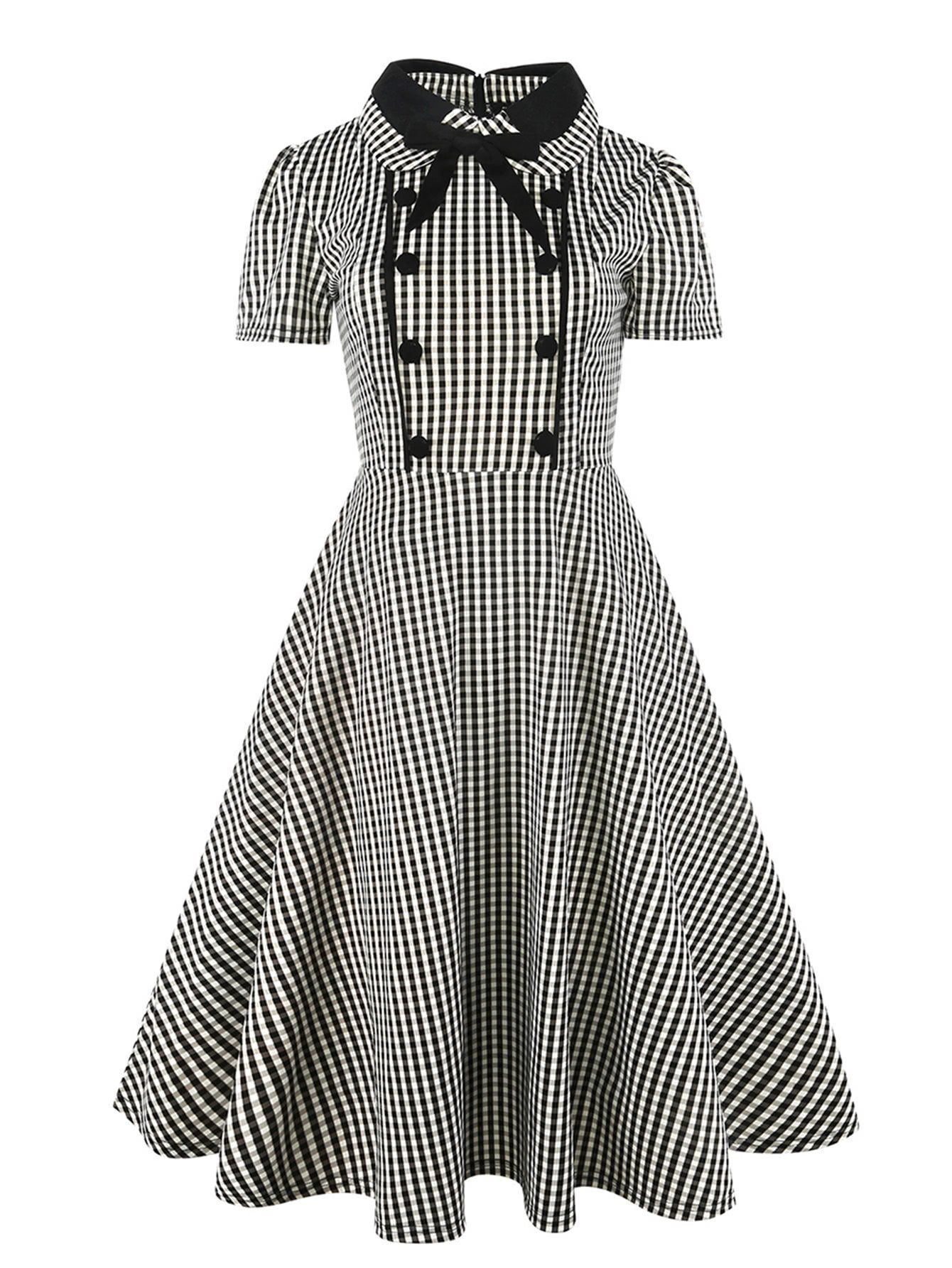 891df796360 Button Front Bow Tie Neck Gingham Shirt Dress