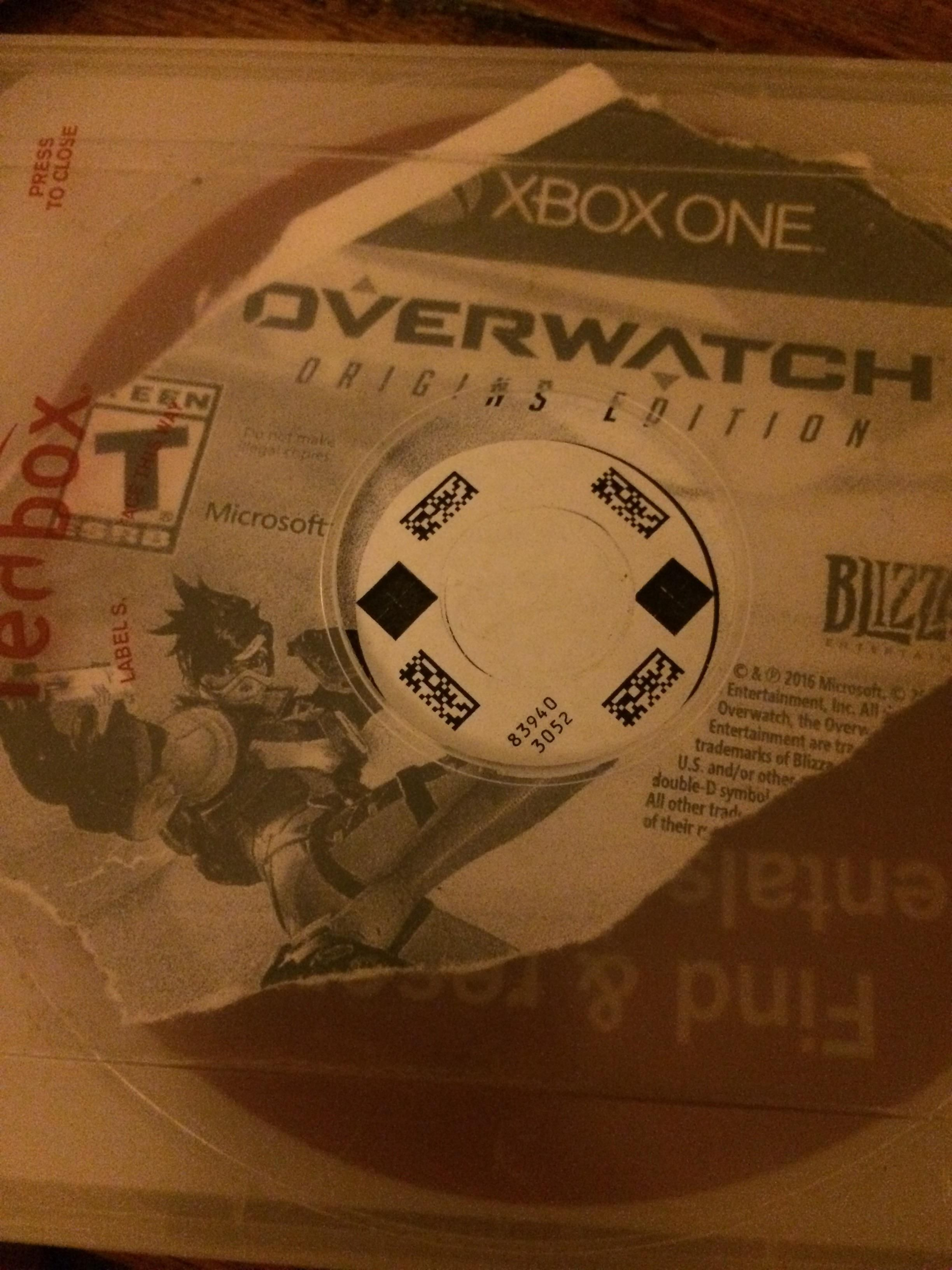 rented overwatch yesterday from redbox and it was just a photocopy