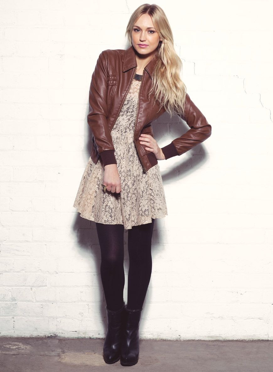 brown leather jacket women with white dress and black