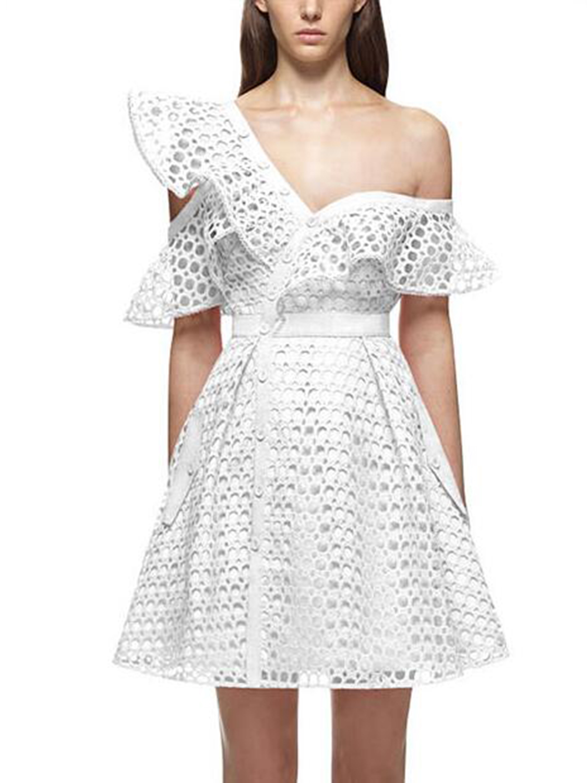 Asymmetrical Short White Lace Dress