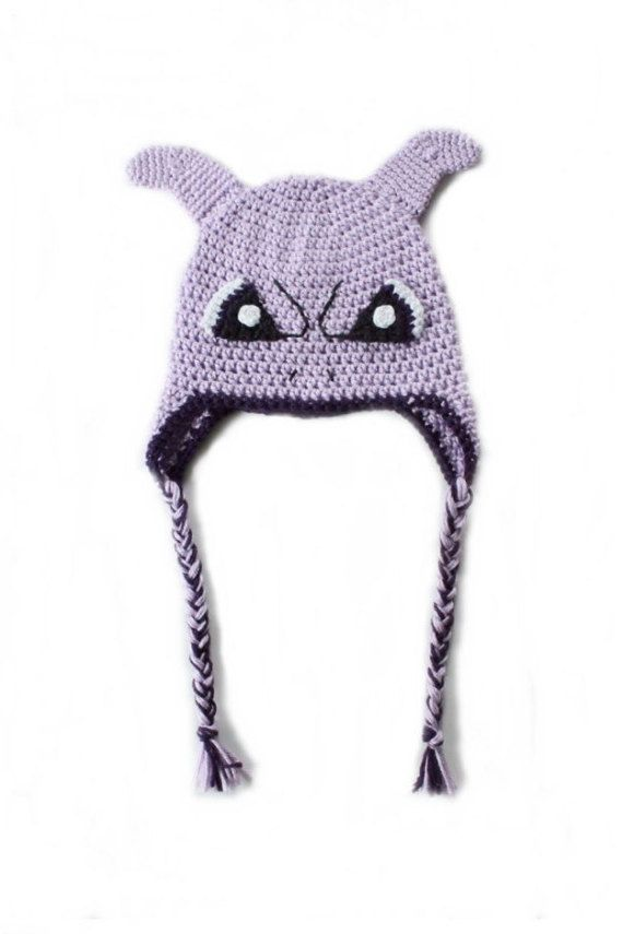 Handmade Crochet Mewtwo Beanie Hat With Braided Tassels, Mewtwo ...