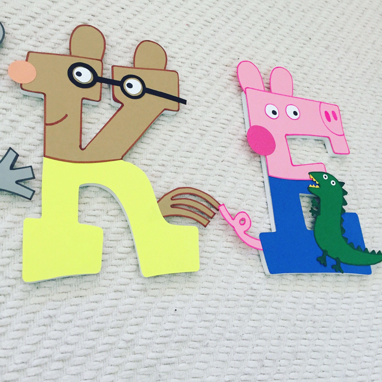 Peppa Pig Custom Wood Letters Wood letters, Kid room decor