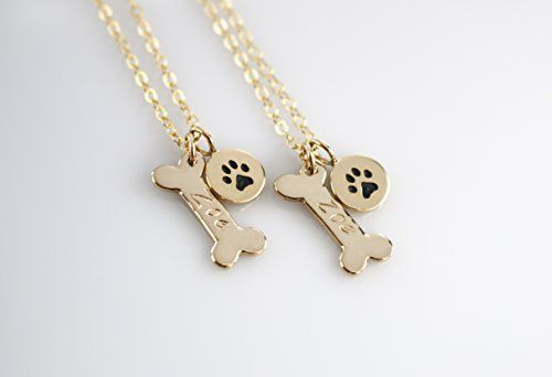 Handmade Jewelry Personalized Dog Bone Necklace, Dog Name Jewelry, Gold or Sterling Silver * Continue to the product at the image link.