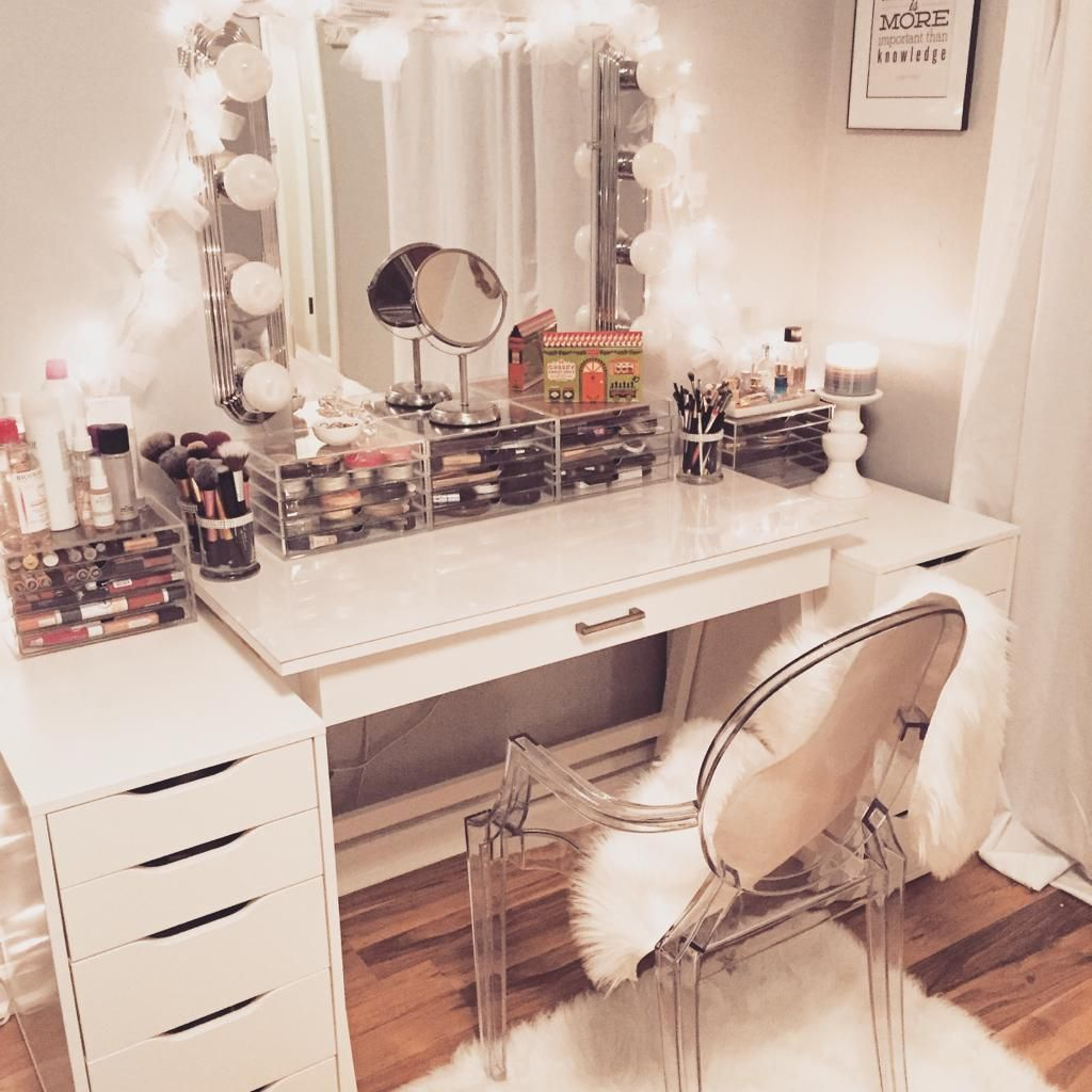 Vanity With Lights And Chair : My Vanity is Complete Ikea chairs, Muji and Target