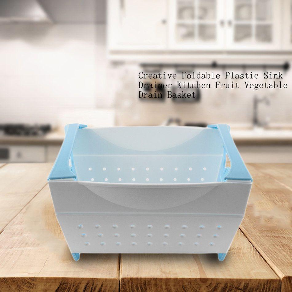 Creative Foldable Plastic Sink Drainer Kitchen Fruit Vegetable Drain ...