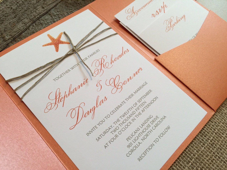 Pocket Fold Wedding Invitation Set,Beach Wedding Invitation,Starfish ...