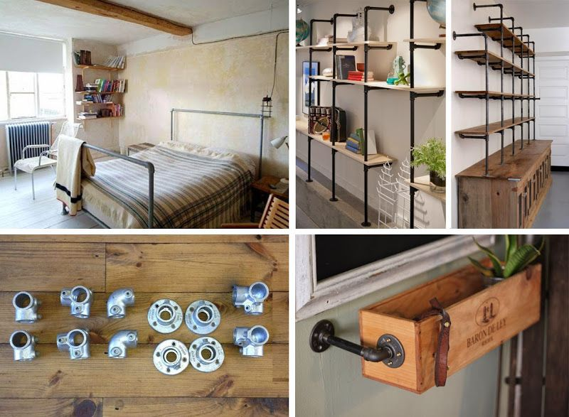 industrial look 26 stylische m bel aus rohrverbindern ratten liebe pinterest m bel. Black Bedroom Furniture Sets. Home Design Ideas
