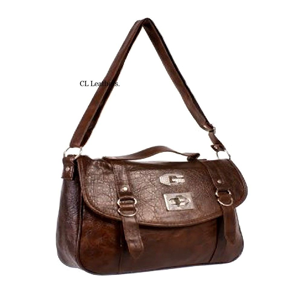 Ladies dark brown satchel shoulder bags with long straps ...