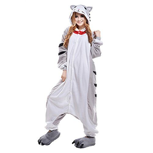 deguisement adulte unisexe costume cosplay combinaison pyjama polaire chat gris l freefisher. Black Bedroom Furniture Sets. Home Design Ideas