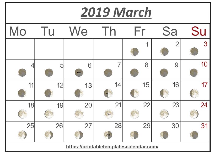 Printable March 2019 Moon Calendar | March 2019 Calendar