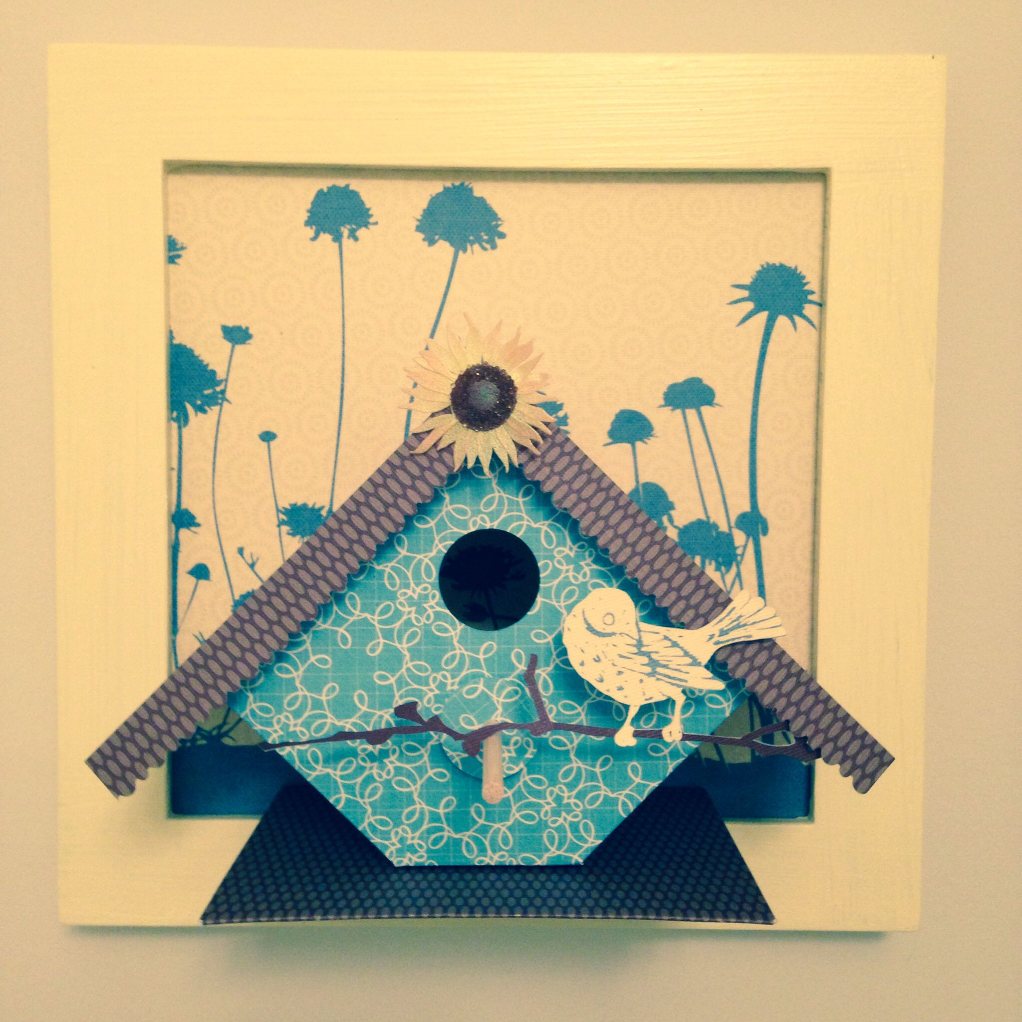 Paper bird cage, from card stock, cut outs, and 9x9 frame. #bird ...
