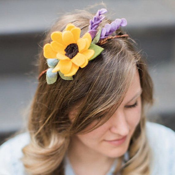 SALE Sunflower Floral Crown Felt Flower Head Wreath  5938563cbe4