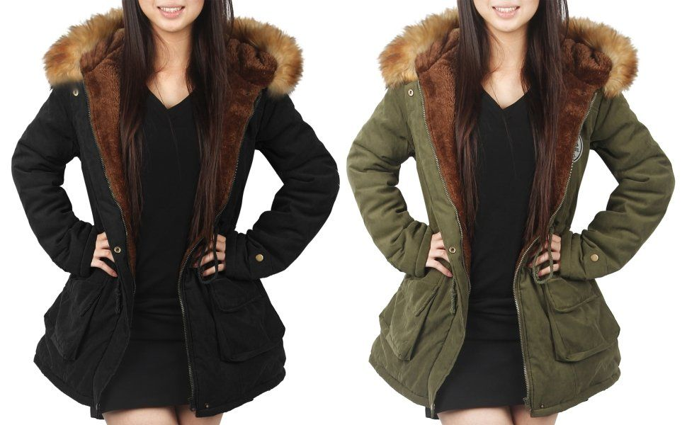 780943ee29 Amazon.com: 4HOW Womens Parka Coat Winter Jacket Long Hooded Warm Jacket  Parkas Outdoor Army Green Size 6: Clothing