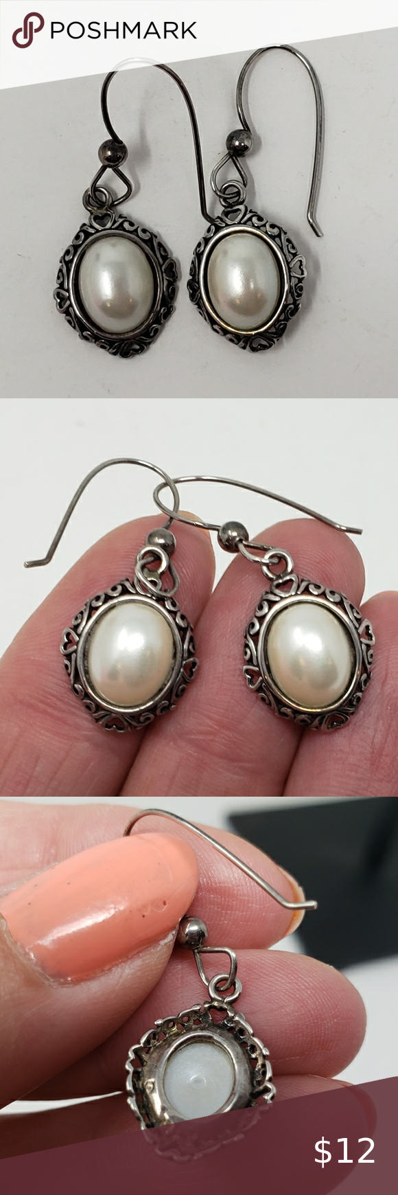 Faux Pearl Silver Earrings