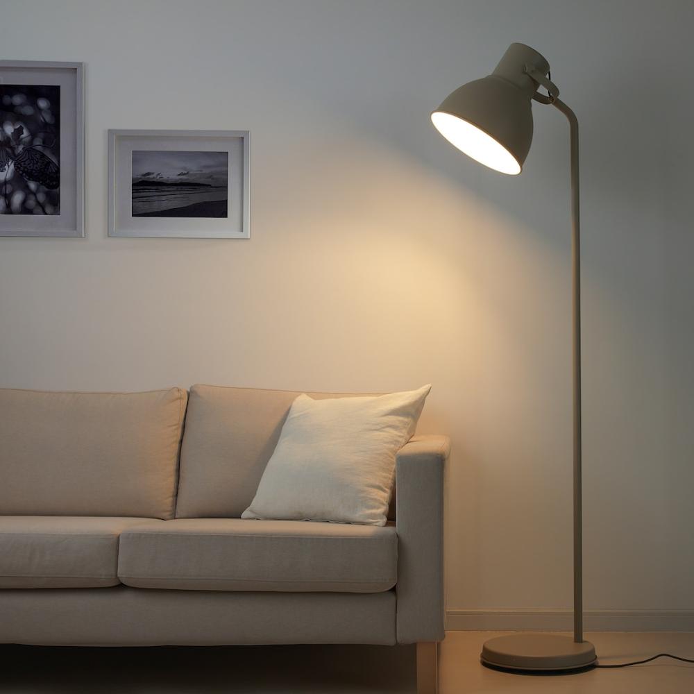 Hektar Floor Lamp With Led Bulb Beige Ikea Floor Lamp Lamp Standard Lamps