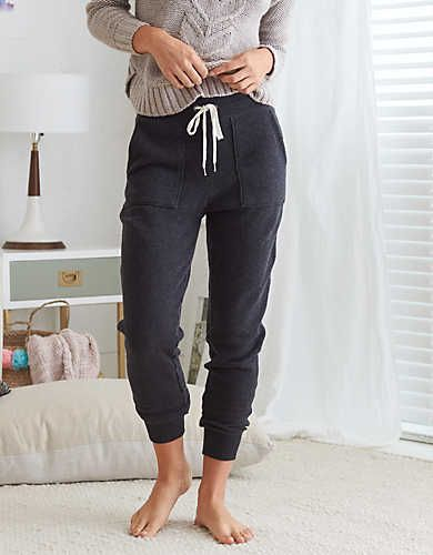 Aerie Comfy Drawstring Jogger Charcoal Heather Aerie For