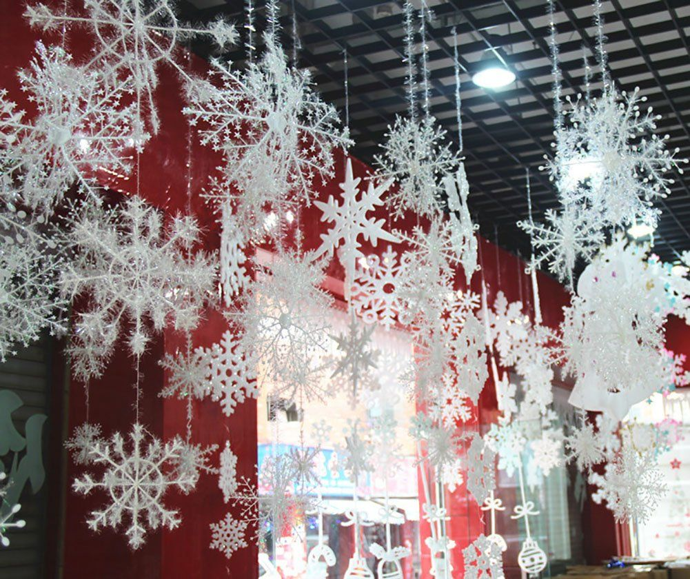 Christmas 3d Snowflake Hanging Party Decoration Ornaments With Strings 12 Pcs Win White Christmas Snowflakes Christmas Snowflakes Decorations Glitter Christmas