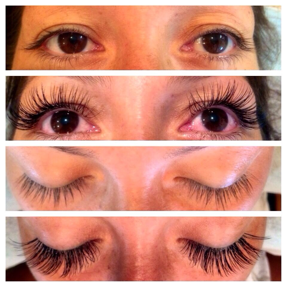 Before and After Eyelash Extensions by Merry using