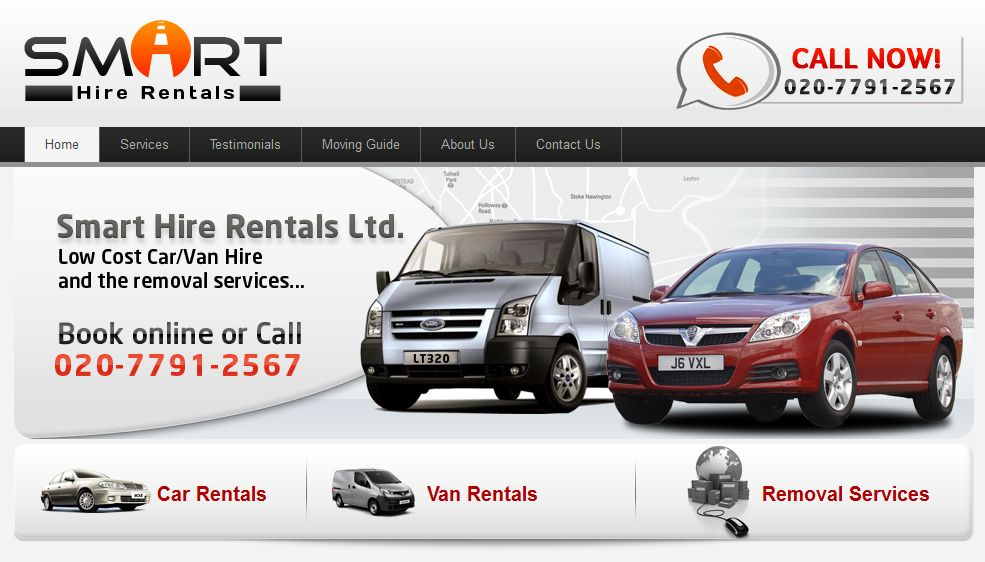 UK based car hire company website (With images