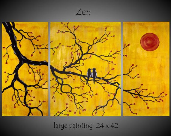 Large Abstract Asian Theme Bird Tree Painting By Jmichaelpaintings 149 00 Abstract Canvas Wall Art Painting Tree Painting