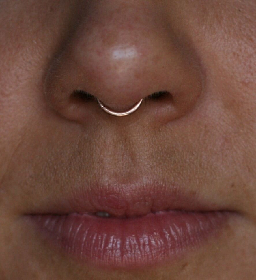 Gold nose piercing  Rose gold colored septum clicker  piercings u body jewellery